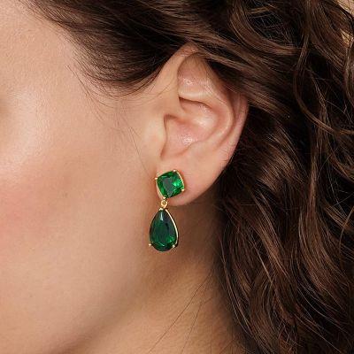 Cuelga Los Pendientes Grandes Verde Sapphire