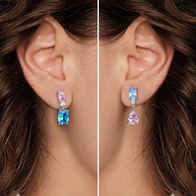 Azul Y Rosa Pendientes Asimétrica
