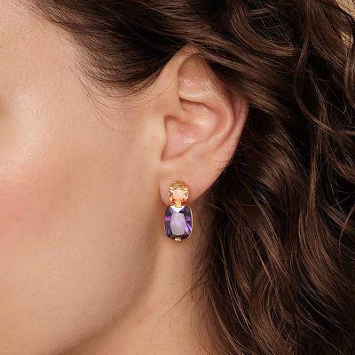 Pendientes De Piedra Preciosa De Color Púrpura