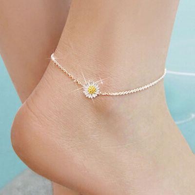 Tobillera de flor de margarita blanca